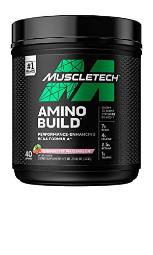 BCAA Amino Acids + Electrolyte Powder | MuscleTech Amino Build | 7g of BCAAs + Electrolytes | Support Muscle Recovery, Build Lean Muscle & Boost Endurance | Strawberry Watermelon (40 Servings)