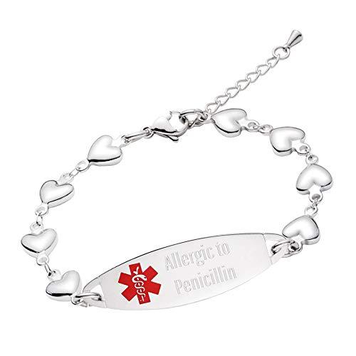 - linnalove-Fashion Heart Chain Medical Alert id Bracelet for Women & Girl-Allergic to Penicillin