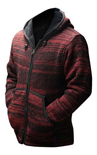 TOUT NEUF vert rouge tyedye Festival à capuche laine veste ,tricotéà la main, hippie, boho , très chaud