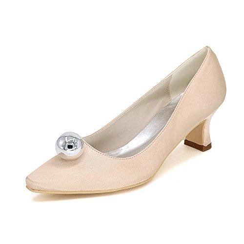 Rhinestone Pompes mariage quotidien à talons Mme Champagne chaussures Couleur parti Chaussures Travail soie a Rough de de Heeled chaussures souligné Qingchunhuangtang Satin hauts TwqEIE