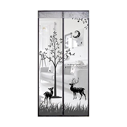 - Smiley-Store Magnetic Screen Door Heavy Duty for Protect Insect Mosquito Fly Bug - Decorations Magnets Screens Net Mesh - Patio Magnet Curtain Doors Decor Screen Cute Deers Size 90x210cm (Black (A))