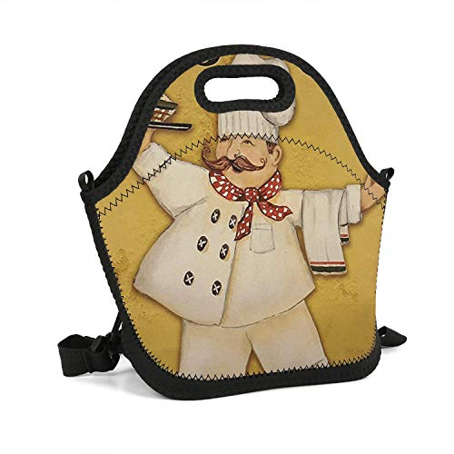 Godfer Arabe Soft Lunch Tote Bag Fat Chef Bistro Reusable insulate and Lightweight Lunch Handbag for Women Men Kids