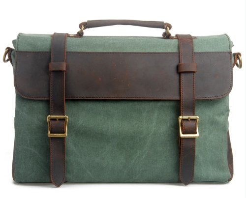 Hynes Eagle Retro Business Briefcases Canvas Leather Mess...