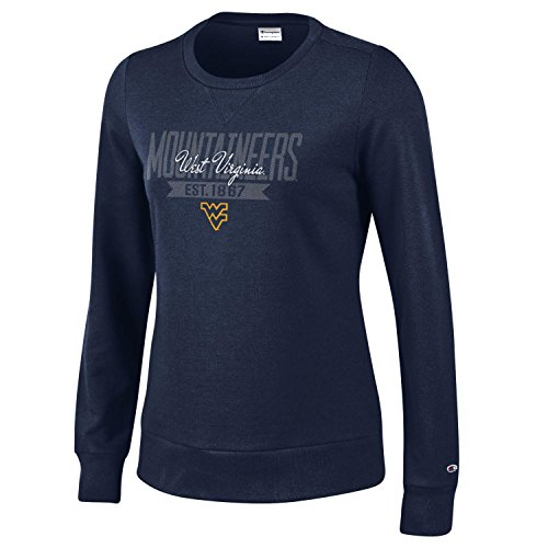- Champion NCAA West Virginia Mountaineers Women's University Fleece Crew, Large, Navy