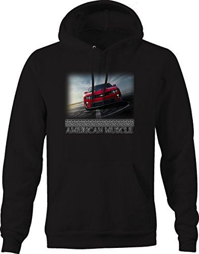 Bold Imprints American Muscle New Classic Chevy Camaro SS ZL1 Red Black Sweatshirt, Jet Black, Medium