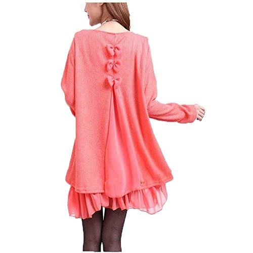 Col Orange Faux Femme Robe Robe Bowknot Elgante Mode en Maille Hiver Fille Deux Large Mini Casual Pullover Robe Automne Manches Robe Longues Chemisier Rond Pices Vtements Fourcher wqqHxFEXr