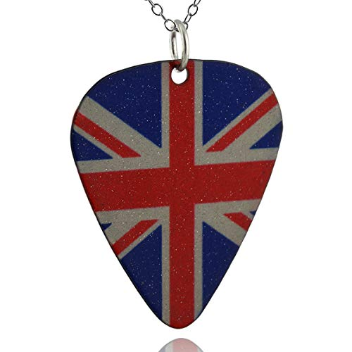 (FashionJunkie4Life Union Jack British Flag Guitar Pick Pendant Necklace, Painted Stainless Steel, 18