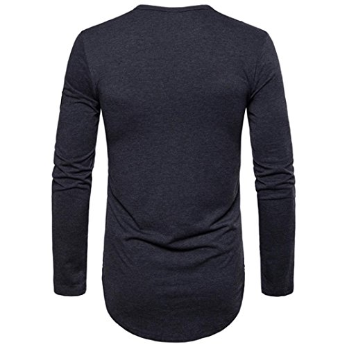 New Hot Sale!PASATO Fashion Men's Autumn Pure Color Joint Long Sleeved Sweatshirts Top Blouse(Dark Gray,M) by PASATO (Image #1)