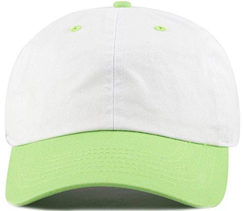 MIRMARU Two Tone 100% Cotton Stonewashed Cap Adjustable Hat Low Profile Baseball Cap.(Lime Green)
