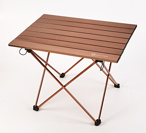 - Outdoor Folding Camping Table Portable Aluminum Alloy Desk with Carrying Bag for Picnic BBQ Travel Beach Hiking Fishing,Easy to Clean,3 Size.(Big/Gold)