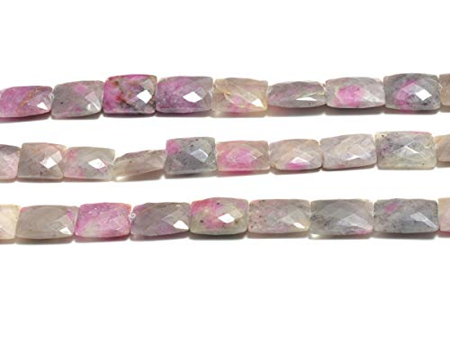 Natural Ruby Zoisite Pink, Listed by BESTINBEADS, AAA Quality Faceted Rectangle Straight Drill semi Precious Gemstone Bead Strand 4 inches Long.