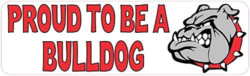Yetta Quiller Home Decal 10inches x 3inches Red Proud to be a Bulldog Vinches yl Sticker School Mascot Bumper by