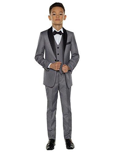 Paisley of London, Porter Gray Slim Fit Tuxedo, Boys Formal Occasion Wear Set, X-Large ()
