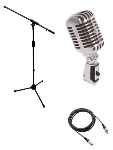 Shure 55SH Microphone Bundle with Mic Boom Stand and XLR Cable.
