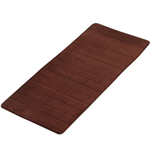 Non-slip Memory Foam Bath Rug, Soft Absorbent Natural Runner Washable Carpet Shower (Size:W 19.6