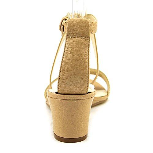 Nine West Lacedress cuero de la cuña de la sandalia Natural/Gold Leather