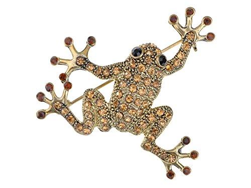 Alilang Golden Tone Topaz Colored Rhinestones Frog Toad Brooch Pin