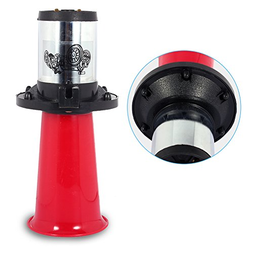 12V 110DB Auto Car Horn Siren, Keenso 490Hz Car Trumpet Klaxon Loud Alarm Horn Antique Vintage Classic Type AHH-OOO-GAH AHOOGA OOGA for Vehicle Boat Auto Car Truck (Red)