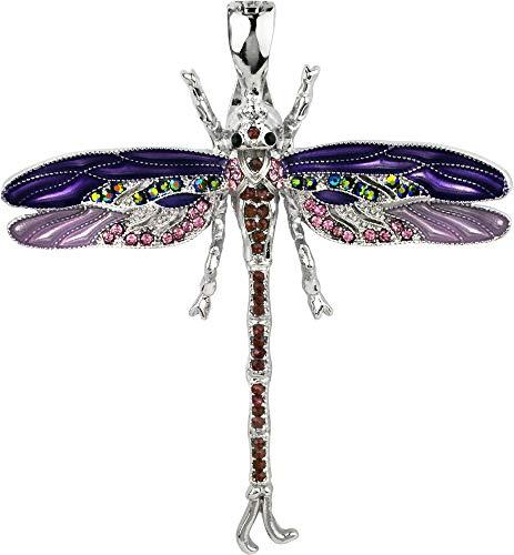 - Wearable Art by Roman Purple Dragonfly Pendant Purple/Silver Tone Multi