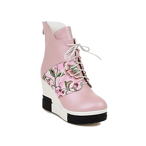 Women's Pink High Boots Low Round Top Heels Assorted Color Closed AmoonyFashion Toe SPOqSd
