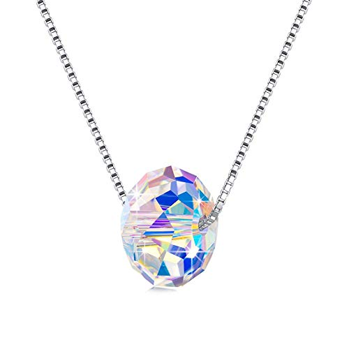 925 Sterling Silver Aurora Borealis Swarovski Crystal Statement Beaded Pendant Necklace, Dangle Earring and Strand Bracelet Jewelry Set for Women and Girls (Color Changing Bead 1.25 cm Necklace Only)