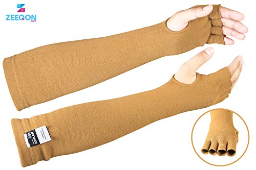 - Kevlar Cut & Heat Resistant Designer Arm Sleeves with Finger Openings - 18 inches by Zeeqon (D-Tan)