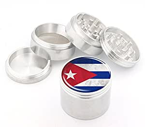 Cuba Flag Design Medium Size 4Pcs Aluminum Herbal or Tobacco Grinder # 50M050416-10