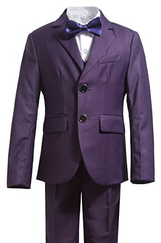 Gele Boys 5 Pieces Formal Suits,Slim Fit Tuxedo Set (4T, Purple) (Set Tuxedo Piece Five)