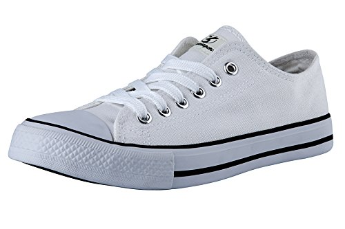 Women's Canvas All White Lace Sneakers (White) - 6