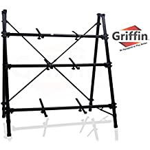 3 Tier Keyboard Stand by Griffin|Triple A-Frame Standing Synthesizer Mixer Holder with Adjustable Height|Pro Audio Stage Performance/Recording Studio Hardware for Music Schools, DJs, Bands, Churches