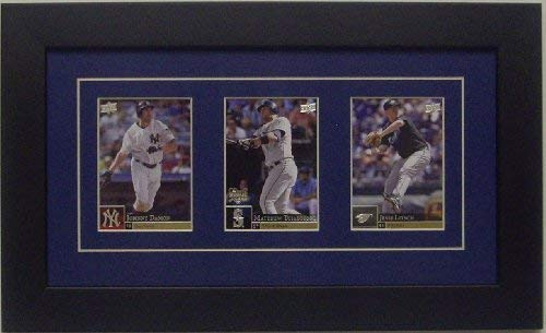 Trading Card Frame for 3 Trading Cards with Dark Blue (White Trim) Matting and Black Frame