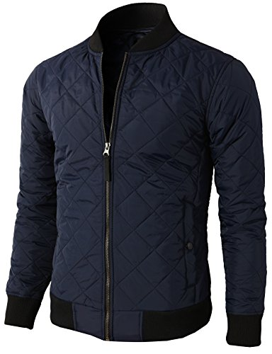 [H2H Mens Active Premium Quilted Lightweight Zip up Bomber Jackets NAVY US M/Asia L (KMOJA0301)] (Lightweight Flight Jacket)