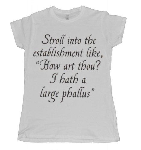 21 Century Clothing Women's Macklemore Thrift Shop Shakespeare Parody T - Shirt Medium White