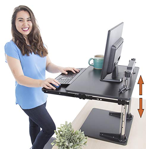 Stand Steady UpTrak Metro Standing Desk & Bonus Keyboard Tray | Sit-to-Stand Desk Converter by Award-Winning Spring-Assisted Lift! Height Adjustable Sit Stand Desk for Cubes & Offices! (Black)