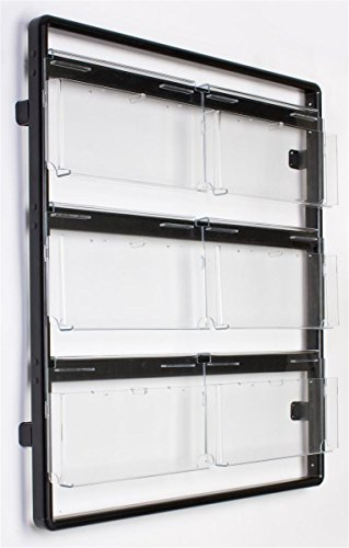 """Wall Magazine Rack 38-1/2""""w x 42-1/2""""h x 5""""d Black Polished Aluminum Rails with Clear Acrylic Pockets Literature Display – Mount Brochure Holder Features 12 Pockets with Adjustable Dividers by Displays2go"""