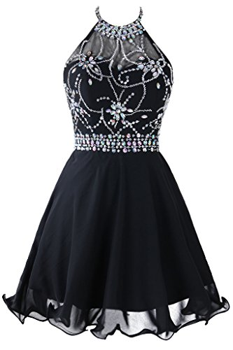 Beaded Short Dress Little Black Dress (Topdress Women's Short Beaded Prom Dress Halter Homecoming Dress Backless Black US 14)