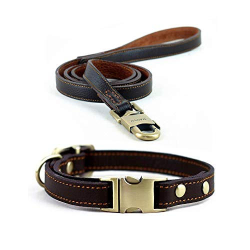 (Dogs Kingdom Adjustable Comfortable Genuine Leather Pet Dogs Collar and Leash Set with Quick Release Buckle Brown S:9-13