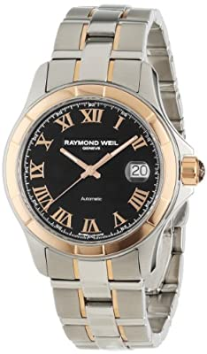 Raymond Weil Men's 2970-SG5-00208 Parsifal Automatic Rose Gold and Stainless Steel Black Dial Watch