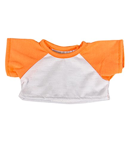 "White Tee w/ Orange Sleeve Fits Most 8""-10"" Webkinz, Shining Star and 8""-10"" Make Your Own Stuffed Animals and"