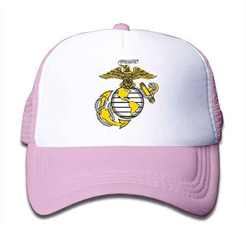 Kualday Kids USMC Marine Corps Logo Trucker Hat Cap Pink (Marine Trucker Hat)