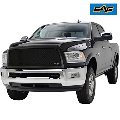 EAG 13-18 Dodge Ram 2500/3500 Wire Mesh Grille Replacement Black Stainless Steel Front Main Upper With Shell