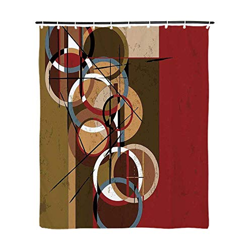 TecBillion Modern Art Home Decor Fashionable Shower Curtain,Retro Surreal Abstract Circular and Square Shaped Art Lines on Murky Base for Bathroom,72''L x 48''W 48' Square Shower Base