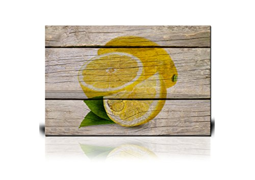 wall26 - Canvas Wall Art - Yellow Lemon on Wooden Background - Giclee Print Gallery Wrap Modern Home Decor Ready to Hang - 16