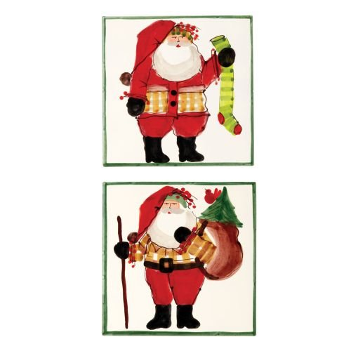 Vietri Holiday Santa Old St. Nick Assorted Square Trivets Green Border Set of 4