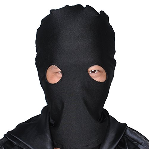 WESTLINK Zentai Mask 2nd Skin Hood Head Full Cover Lycra Spandex (Black - Eye Open)]()