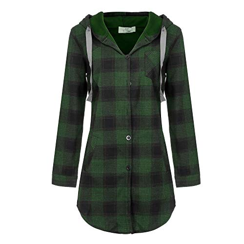Women Plaid Print Hooded Coat Button Long Coat Jacket (Reversible Flannel Hoodie)