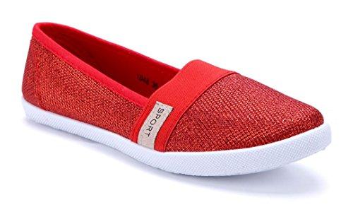 Schuhtempel24 Damen Schuhe Sportliche Ballerinas Flach Glitzer Rot