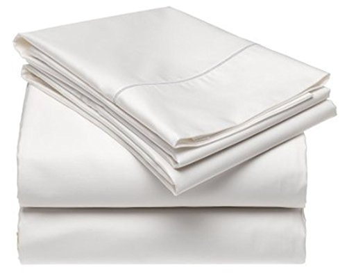 100% Cotton 500 Thread Count Soft Luxurious 4 Piece Bed Sheet Set - Durable - Long Lasting - Easy Care and Hypoallergenic (Queen, White)