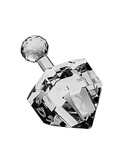 Hanukkah Chanukkah Dreidel Clear Crystal 24% Lead, Hebrew Letters Engraved