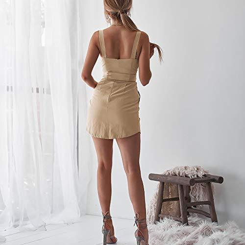 Fessura SexyCamicetta Senza Casual Cachi Abito Mini Cocktail Bottoni Gonna Elegante Zarupeng Con Corte Vestito Da A Maniche 3TF1lcKJ